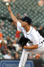 Detroit Tigers starting pitcher Matt Manning throws to a Toronto Blue Jays batter during the first inning of a baseball game, Friday, Aug. 27, 2021, in Detroit. (AP Photo/Jose Juarez)