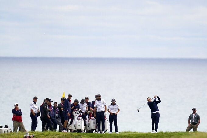 Team Europe's Paul Casey hits on the ninth hole during a practice day at the Ryder Cup at the Whistling Straits Golf Course Tuesday, Sept. 21, 2021, in Sheboygan, Wis. (AP Photo/Ashley Landis)