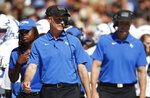 Air Force head coach Troy Calhoun directs his team against Colorado in the first half of an NCAA college football game Saturday, Sept. 14, 2019, in Boulder, Colo. (AP Photo/David Zalubowski)