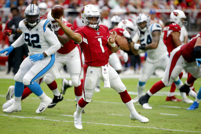 Arizona Cardinals quarterback Kyler Murray (1) throws against the Carolina Panthers during the first half of an NFL football game, Sunday, Sept. 22, 2019, in Glendale, Ariz. (AP Photo/Rick Scuteri)