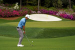 Will Zalatoris hits to the 13th green during the second round of the Masters golf tournament on Friday, April 9, 2021, in Augusta, Ga. (AP Photo/David J. Phillip)