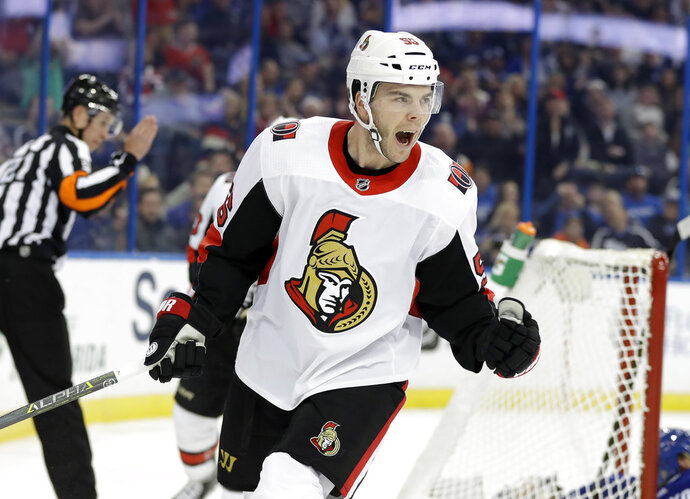 Ottawa Senators left wing Magnus Paajarvi, (56) of Sweden, celebrates after scoring against the Tampa Bay Lightning during the first period of an NHL hockey game Tuesday, March 13, 2018, in Tampa, Fla. (AP Photo/Chris O'Meara)