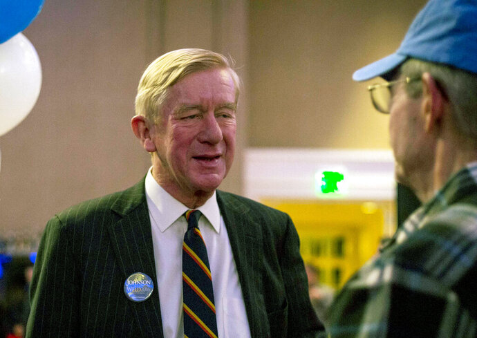 FILE - In this Nov. 8, 2016, file photo, Libertarian vice presidential candidate Bill Weld greets supporters at his election night party in Albuquerque, N.M. Weld, a former governor of Massachusetts who two years ago ran for vice president on the Libertarian Party ticket, on Monday, April 15, 2019, became the first Republican to challenge President Donald Trump in the 2020 primaries. (AP Photo/Juan Labreche, File)