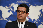 In this May 28, 2019 photo, Iran's Foreign Ministry spokesman Abbas Mousavi speaks at a press conference in Tehran, Iran. Iran remains open to diplomacy to save its 2015 nuclear deal with world powers but has
