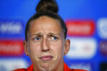 Netherlands goalkeeper Sari Van Veenendaal attends a press conference at the Stade de Lyon, outside Lyon, France, Saturday, July 6, 2019. Netherlands will face US in a Women's World Cup final match Sunday in Lyon. (AP Photo/Francois Mori)