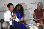 Democratic presidential candidate and South Bend, Indiana, Mayor Pete Buttigieg speaks Tuesday, Sept. 17, 2019, as activists Alicia Garza, center, and Cecile Richards, right, look on during an event with Supermajority in Columbia, S.C. (AP Photo/Meg Kinnard)
