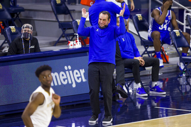 Duke head coach Mike Krzyzewski reacts after his team turns the ball over during the second half of an NCAA college basketball game against Notre Dame on Wednesday, Dec. 16, 2020, in South Bend, Ind. Duke won 75-65. (AP Photo/Robert Franklin)