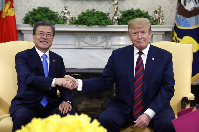 President Donald Trump meets with South Korean President Moon Jae-in in the Oval Office of the White House, Thursday, April 11, 2019, in Washington. (AP Photo/Evan Vucci)