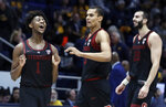 From left to right, Stanford's Daejon Davis, Oscar da Silva and Josh Sharma celebrate after defeating California in an NCAA college basketball game Sunday, Feb. 3, 2019, in Berkeley, Calif. (AP Photo/Ben Margot)