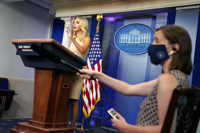 White House press secretary Kayleigh McEnany speaks during a press briefing at the White House, Tuesday, June 30, 2020, in Washington. (AP Photo/Evan Vucci)