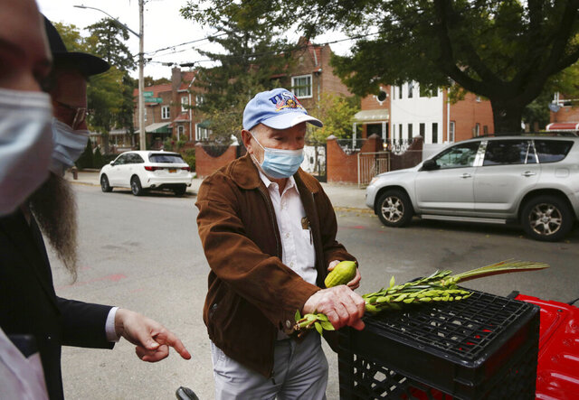 Holocaust survivor Leon Sherman holds a lulav, a collection of palm, myrtle and willow branches, and an etrog, a citrus fruit, as he recites the blessings in front of his home in the Queens borough of New York, Monday, Oct. 5, 2020. In an effort to bring the Jewish fall harvest traditions safely to those isolated by the coronavirus, Rabbi Eli Blokh, of the Chabad of Rego Park Jewish and Russian Community Center, built a mobile sukkah, a temporary shelter where Jews gather to celebrate Sukkot, in the back of a red pickup, making several house calls each day during the weeklong festival to people like Sherman. (AP Photo/Jessie Wardarski)