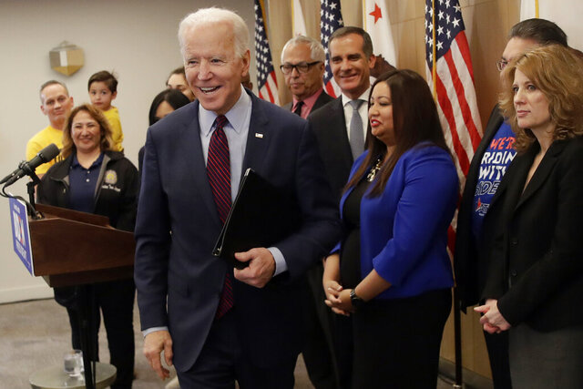 Democratic presidential candidate former Vice President Joe Biden leaves after speaking Wednesday, March 4, 2020, in Los Angeles. (AP Photo/Marcio Jose Sanchez)