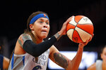 FILE - In this Aug. 6, 2019, file photo, Minnesota Lynx forward Napheesa Collier (24) shoots a free throw during the first half of a WNBA basketball game against the Atlanta Dream, in Atlanta. Collier was named the Associated Press WNBA Rookie of the Year, Wednesday, Sept. 11, 2019. (AP Photo/John Bazemore, File)