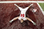 Wisconsin tight end Jake Ferguson makes a snow angel after Wisconsin defeated Minnesota 38-17 during an NCAA college football game Saturday, Nov. 30, 2019, in Minneapolis. (Mark Vancleave/Star Tribune via AP)