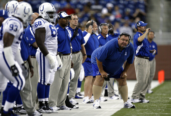 WAITING FOR VERIFICATION- DO NOT MOVE - FILE In this Aug. 29, 2009, file photo, Indianapolis Colts defensive line coach John Teerlinck, front right, looks on during the first quarter of a exhibition NFL football game against the Detroit Lions in Detroit. Longtime NFL assistant coach Teerlinck has died. He was 69. Colts owner Jim Irsay made the announcement in a Twitter post Sunday, May 10, 2020. (AP Photo/Paul Sancya, File)