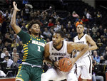 St. Bonaventure's LaDarien Griffin (15) looks to shoot as George Mason's Justin Kier (1) defends during the first half of an NCAA college basketball game in the Atlantic 10 conference tournament Friday, March 15, 2019, in New York. (AP Photo/Frank Franklin II)