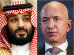 "This combination of file photos shows Saudi Arabia's Crown Prince Mohammed bin Salman in Jeddah, Saudi Arabia, on June 24, 2019 and Jeff Bezos, Amazon founder and CEO, in Washington, on Sept. 13, 2018. Two U.N. experts this week called for the U.S. to investigate a likely hack of Bezos' phone that could have involved Saudi Arabian Crown Prince Mohammed bin Salman. A commissioned forensic report found with ""medium to high confidence"" that Bezos' phone was compromised by a video MP4 file he received from the prince in May 2018. (AP Photo)"