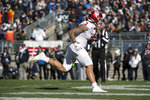 Indiana wide receiver Ty Fryfogle (3) scores a first quarter touchdown during an NCAA college football game against Penn State in State College, Pa., on Saturday, Nov.16, 2019. (AP Photo/Barry Reeger)