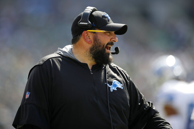 Detroit Lions head coach Matt Patricia yells from the sideline during the first half of an NFL football game against the Philadelphia Eagles, Sunday, Sept. 22, 2019, in Philadelphia. (AP Photo/Matt Rourke)