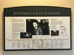This Sept. 11, 2019 photo shows a plaque at Natchitoches Regional Airport in Natchitoches, La., commemorating singer Jim Croce's final concert. Croce and five others were killed in a plane crash on Sept. 20, 1973. (Greg Hilburn/The News-Star via AP)