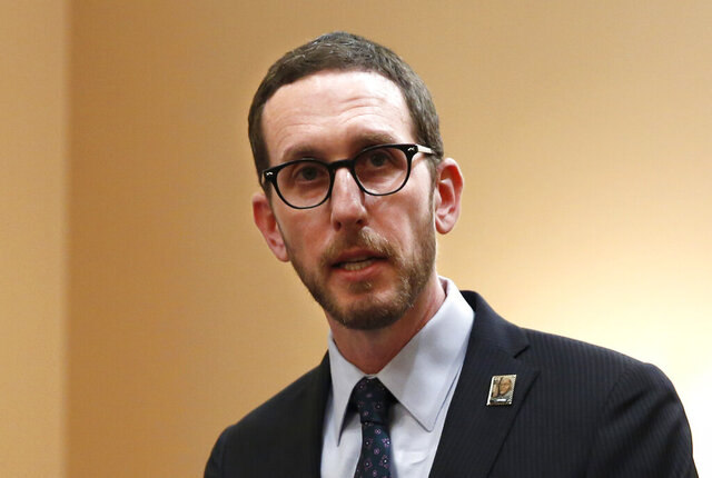 In this Jan. 21, 2020, photo, state Sen. Scott Wiener, D-San Francisco, speaks at a news conference in Sacramento, Calif. Wiener has authored a bill that would require investor-owned utilities to reimburse customers and local governments for some costs associated with the blackouts. The bill will go before the Senate Appropriations Committee, Thursday, Jan. 23, 2020. (AP Photo/Rich Pedroncelli)