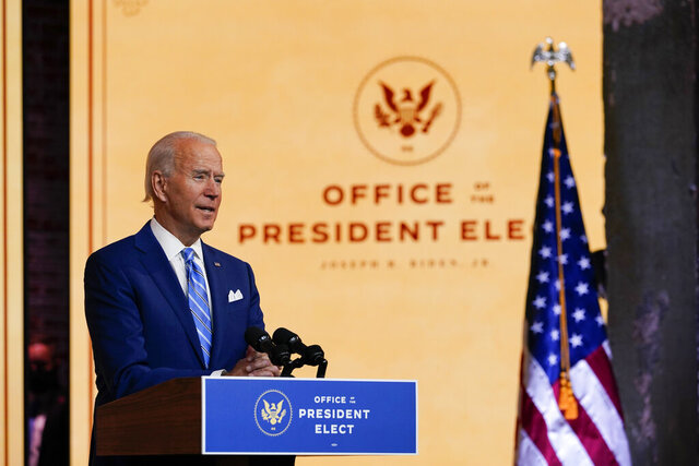 President-elect Joe Biden speaks Wednesday, Nov. 25, 2020, in Wilmington, Del. (AP Photo/Carolyn Kaster)