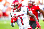 Louisville Cardinals wide receiver Tutu Atwell (1) runs for a touchdown after catching a pass during Louisville's 38-21 win over WKU on Saturday, Sept. 13, 2019, at Nissan Stadium. (Austin Anthony/Daily News via AP)