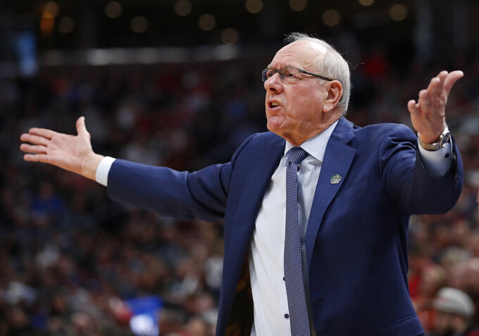 Syracuse coach Jim Boeheim reacts during the first half against Baylor in a first-round game in the NCAA men's college basketball tournament Thursday, March 21, 2019, in Salt Lake City. (AP Photo/Jeff Swinger)