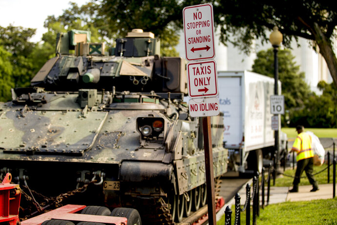 One of two Bradley Fighting Vehicles is parked nearby the Lincoln Memorial for President Donald Trump's 'Salute to America' event honoring service branches on Independence Day, Tuesday, July 2, 2019, in Washington. President Donald Trump is promising military tanks along with