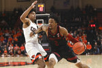 Stanford's Bryce Wills (2) moves past Oregon State's Ethan Thompson (5) during the second half of an NCAA college basketball game in Corvallis, Ore., Thursday, Feb. 7, 2019. Stanford won 83-60. (AP Photo/Amanda Loman)