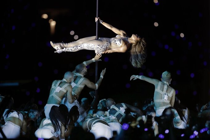 Jennifer Lopez performs during halftime of the NFL Super Bowl 54 football game between the San Francisco 49ers and the Kansas City Chiefs Sunday, Feb. 2, 2020, in Miami Gardens, Fla. (AP Photo/Chris O'Meara)