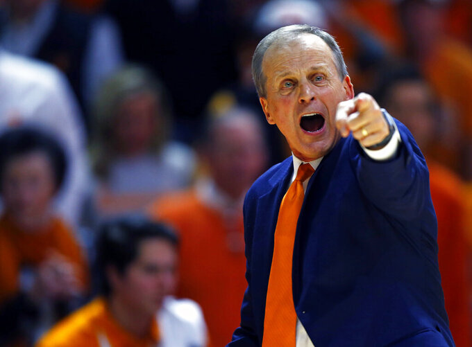 Tennessee head coach Rick Barnes yells to his players in the second half of an NCAA college basketball game against West Virginia, Saturday, Jan. 26, 2019, in Knoxville, Tenn. Tennessee won 83-66. (AP Photo/Wade Payne)
