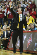 Wichita State head coach Gregg Marshall calls in a play against Indiana in the first half of an NCAA college basketball game in the third round of the NIT tournament in Bloomington, Ind., Tuesday, March 26, 2019. Wichita State won 73-63. (AP Photo/AJ Mast)