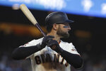 San Francisco Giants' Kevin Pillar bats against the Oakland Athletics during the fourth inning of a baseball game in San Francisco, Tuesday, Aug. 13, 2019. (AP Photo/Jeff Chiu)