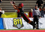 San Diego State wide receiver Jesse Matthews dives for a touchdown reception during the first half of the New Mexico Bowl NCAA college football game against Central Michigan on Saturday, Dec. 21, 2019 in Albuquerque, N.M. (AP Photo/Andres Leighton)