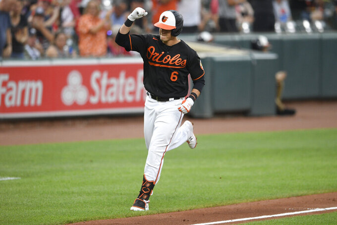 Baltimore Orioles' Ryan Mountcastle celebrates his home run during the fourth inning of a baseball game against the Washington Nationals, Saturday, July 24, 2021, in Baltimore. (AP Photo/Nick Wass)