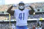 Detroit Lions running back J.D. McKissic (41) celebrates after scoring against the Oakland Raiders during the second half of an NFL football game in Oakland, Calif., Sunday, Nov. 3, 2019. (AP Photo/John Hefti)