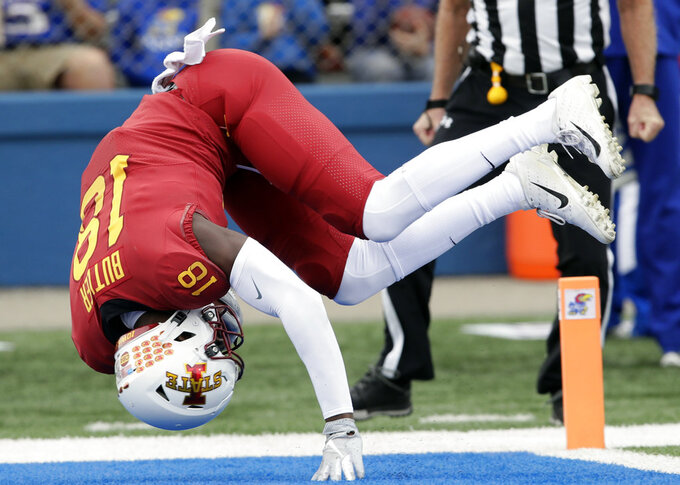 Iowa State wide receiver Hakeem Butler (18) dives in for a touchdown during the first half of an NCAA college football game against Kansas in Lawrence, Kan., Saturday, Nov. 3, 2018. (AP Photo/Orlin Wagner)