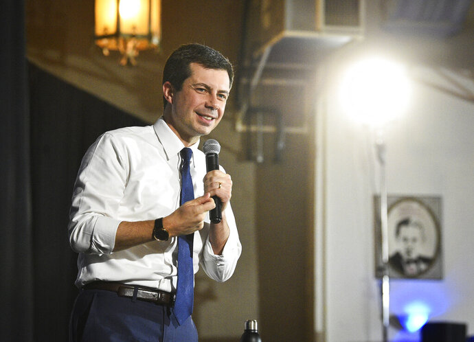 Democratic presidential candidate and Mayor of South Bend, Ind., Pete Buttigieg speaks during a campaign stop at the Danceland Ballroom Saturday, Dec. 7, 2019, in Davenport. (Meg McLaughlin/The Dispatch - The Rock Island Argus via AP)