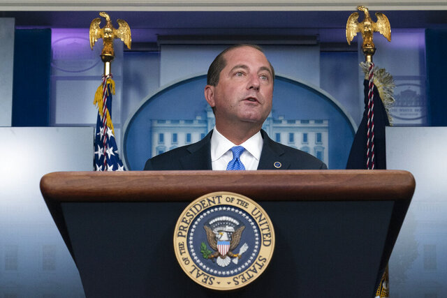 FILE - In this Aug. 23, 2020, file photo, Health and Human Services Secretary Alex Azar speaks during a media briefing in the James Brady Briefing Room of the White House in Washington. Trying to pull back the veil on health costs to encourage competition, the Trump administration on Oct. 29, will finalize requirements for insurers to tell consumers up front the actual prices for common tests and procedures. (AP Photo/Alex Brandon, File)