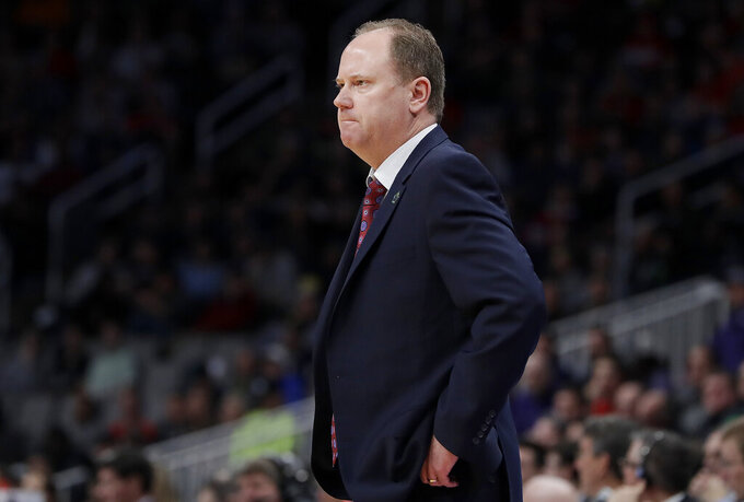 Wisconsin head coach Greg Gard watches during the first half a first-round game against Oregon in the NCAA men's college basketball tournament Friday, March 22, 2019, in San Jose, Calif. (AP Photo/Chris Carlson)