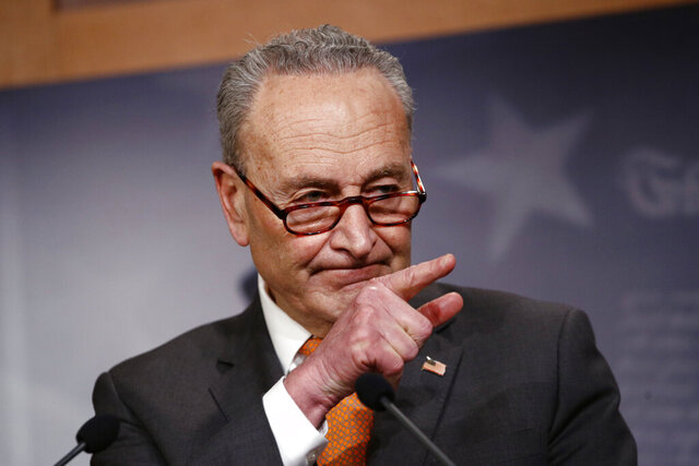 Senate Minority Leader Sen. Chuck Schumer of N.Y., speaks during a news conference on Capitol Hill in Washington, Tuesday, May 12, 2020. (AP Photo/Patrick Semansky)
