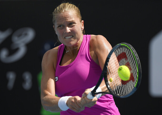 United States' Shelby Rogers makes a backhand return to Serbia's Olga Danilovic during their second round match at the Australian Open tennis championship in Melbourne, Australia, Thursday, Feb. 11, 2021.(AP Photo/Andy Brownbill)