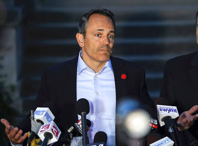 FILE - In this May 21, 2019, file photo, Kentucky Gov. Matt Bevin speaks at a news conference after winning the Republican gubernatorial primary in Frankfort, Ky. Bevin announced Monday, July 15, 2019 that a special legislative session will convene Friday, July 19 at the state Capitol in Frankfort in an effort to deliver relief for regional universities and quasi-governmental agencies strapped by surging pension costs.  (AP Photo/Bryan Woolston, File)