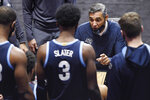 Villanova coach Jay Wright talks to the team during the second half of an NCAA college basketball game against Arizona State, Thursday, Nov. 26, 2020, in Uncasville, Conn. (AP Photo/Jessica Hill)