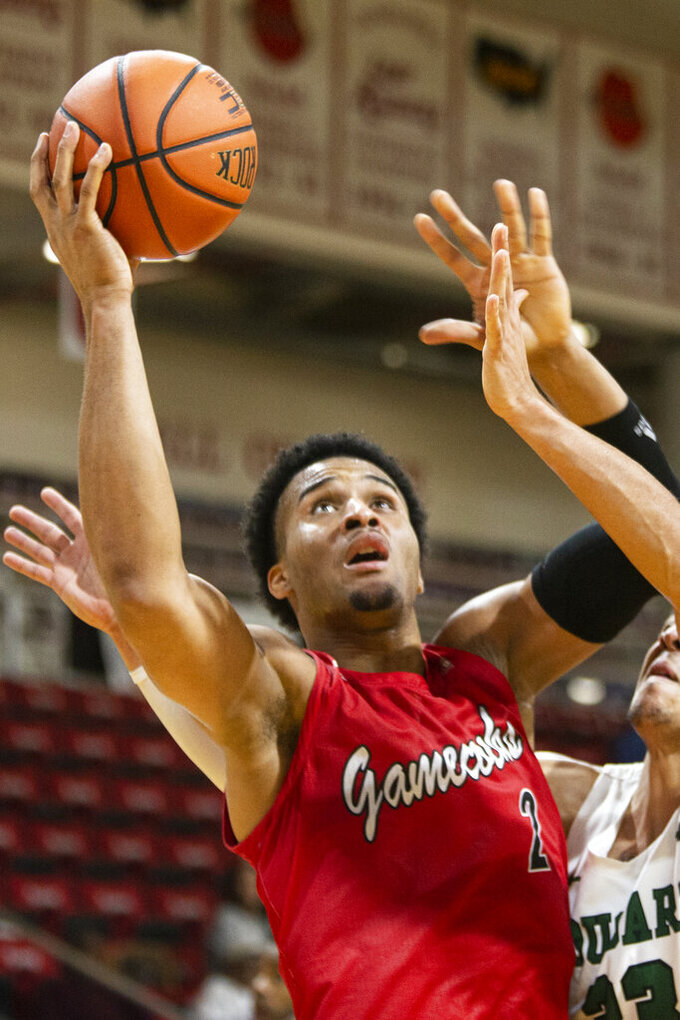 Jacksonville State forward Jacara Cross (2) pulls up for a jump shot in the second half of an NCAA college basketball game against Chicago State at the Emerald Coast Classic in Niceville, Fla., Friday, Nov. 29, 2019. (AP Photo/Mark Wallheiser)