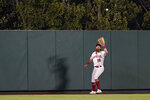 Los Angeles Angels center fielder Brandon Marsh (16) catches a fly ball hit by Oakland Athletics' Yan Gomes during the seventh inning of a baseball game Friday, Sept. 17, 2021, in Anaheim, Calif. (AP Photo/Ashley Landis)