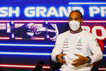 Mercedes driver Lewis Hamilton of Britain attends a media conference at the Silverstone circuit, Silverstone, England, Thursday, July 15, 2021. The British Formula One Grand Prix will be held on Sunday. (Mark Sutton, Pool Photo via AP)