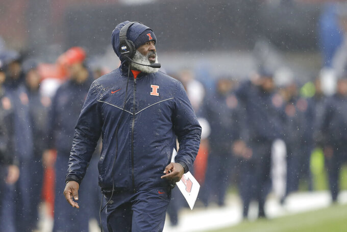 Illinois head coach Lovie Smith watches during the first half of an NCAA college football game against the Purdue, Saturday, Oct. 26, 2019, in West Lafayette, Ind. (AP Photo/Darron Cummings)