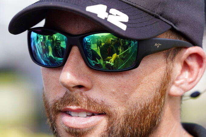 Ross Chastain talks with reporters before the NASCAR Cup Series auto race at Daytona International Speedway, Saturday, Aug. 28, 2021, in Daytona Beach, Fla. (AP Photo/John Raoux)